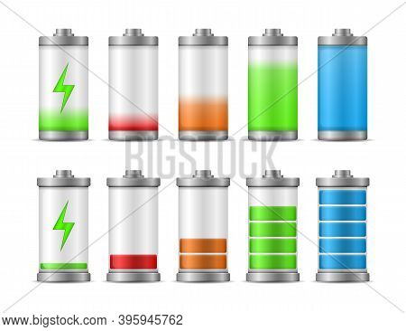 Battery Charge Full Power Energy Level. Fully Charged And Discharged Accumulators Smartphone Battery