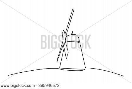 Continuous Line Drawing Of Vintage Windmill. Template For Your Design Works. Vector Illustration. Wi