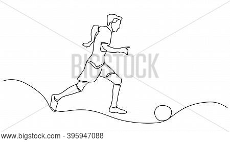 Continuous Line Or One Line Drawing Of Soccer Player Kicking The Ball. One Continuous Line Drawing O