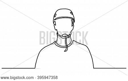 Single Continuous Line Drawing Of A Man Wearing A Helmet. One Line Of Man In A Protective Helmet. Bi