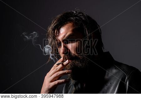 Portrait Of Handsome Man With Cigarette. Bearded Man Smoking. Cigarette Smoke. Tobacco. Smoking Hips