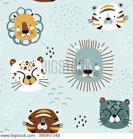 Seamless Kids Pattern With Cute African Animals. Childish Texture With Creative Lion, Tiger, Cheetah