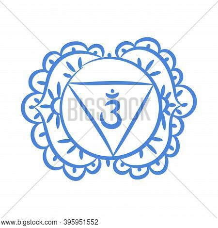 Ajna Sketch Icon. The Sixth Frontal Chakra. Third Eye. Vector Indigo Blue Symbol. Sacral Sign. Medit