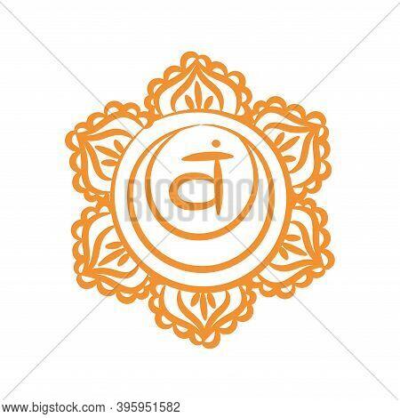 Swadhisthana Sketch Icon. The Second Sacral Chakra. Vector Orange Line Symbol. Meditation Sign