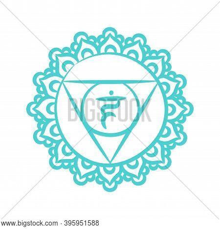 Vishuddha Sketch Icon. The Fifth Guttural Chakra. Vector Blue Line Symbol. Sacral Sign. Meditation
