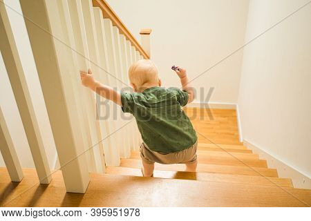 Toddler Boy First Time N His Life Going Down The Stairs