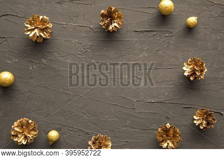 Golden Christmas Decoration Frame With Empty Space For Greeting, Merry Christmas And A Happy New Yea