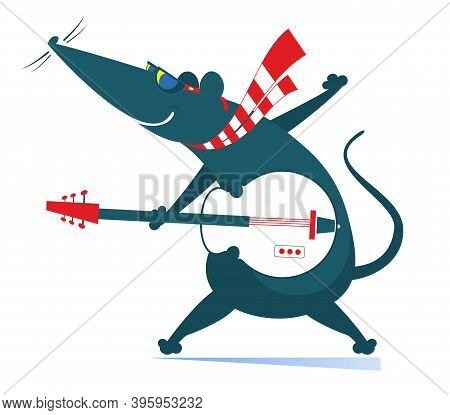Cartoon Rat Or Mouse Plays Guitar Illustration. Rat Or Mouse Plays Guitar Isolated On White