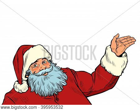Santa Claus Character Isolate On A White Background. Pop Art Retro Illustration 50s 60s Kitsch Vinta