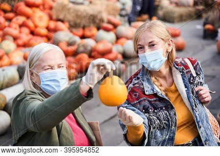 Woman Holding Pumpkin At The Outstretched Hand