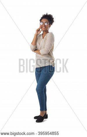 Full Length Portrait Of African American Mixed Race Woman Laughing Isolated On White Background, Cas