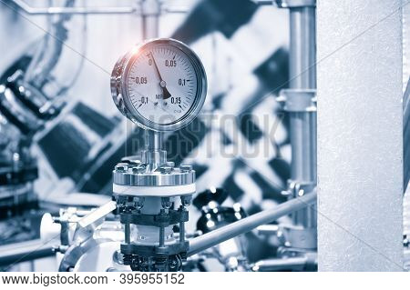 Industrial  Concept. Equipment Of The Boiler-house, - Valves, Tubes, Pressure Gauges, Thermometer. C