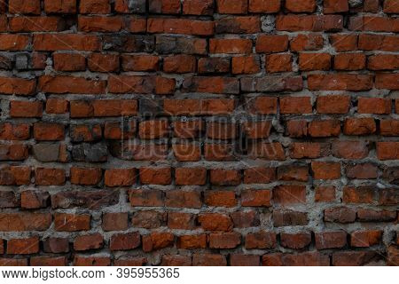 Dark Texture Of Old Brick Wall. Abstact Texture.