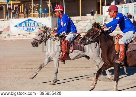 Leh, India - September 24, 2013: Unidentified Polo Players At The Match Of Ladakh Festival In Leh, L