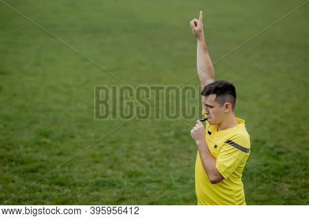 Referee Indicates A Violation Of The Rules. Concept Of Sport, Rules Violation, Offside.