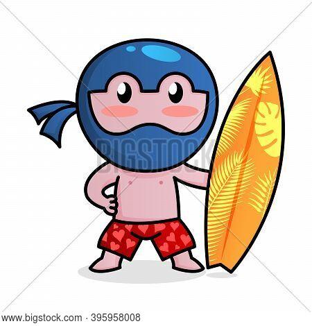 Little Funny Ninja Surfeng In Swimming Trunks. Secure Ninja Proxy Concept.
