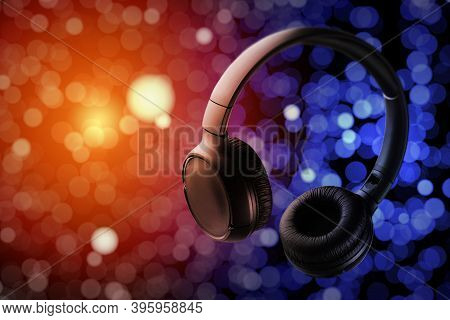 Musical Headphones. Club Music Concept. Electonic Music. Live Music. Music Disc Cover.