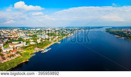 Kostroma City Centre And Volga River Aerial Panoramic View, Golden Ring Of Russia