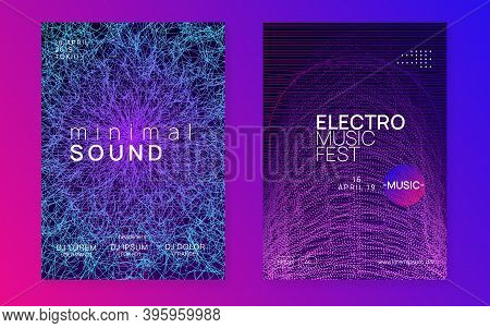 Club Flyer. Dynamic Fluid Shape And Line. Bright Show Banner Set. Neon Club Flyer. Electro Dance Mus
