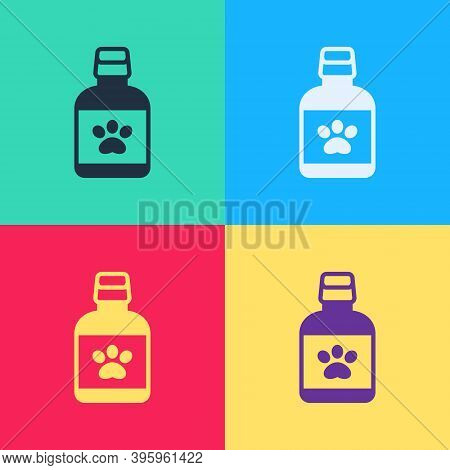 Pop Art Dog Medicine Bottle Icon Isolated On Color Background. Container With Pills. Prescription Me