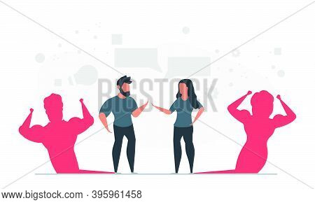 Business Ambitions Of Talented People. A Man And A Woman Show In The Form Of A Strong Shadow What Th