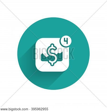 White Mobile Stock Trading Concept Icon Isolated With Long Shadow. Online Trading, Stock Market Anal