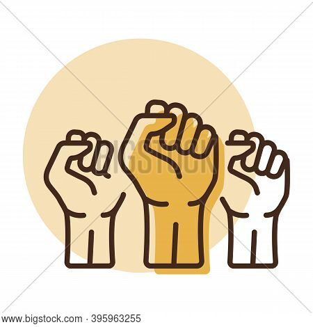 Three Clenched Fists Raised In Protest Vector Icon. Protest, Strength, Freedom, Revolution, Rebel, R