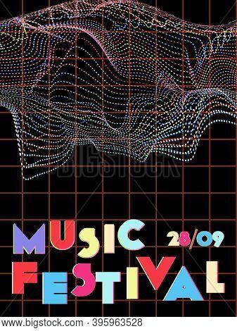 Music Cover In Blue, Violet, Pink, Green Colors. Rock Concert Flyer. Minimal Tech Brochure. Amplitud