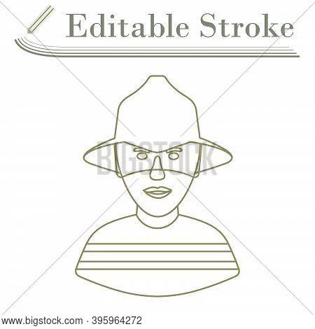 Fireman Icon. Editable Stroke Simple Design. Vector Illustration.