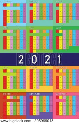 2021 Calendar Planer Organizer Big Editable Space Color Weekday And Month