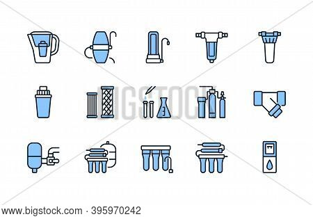 Water Filter Flat Line Icon Blue Color. Vector Illustration Of Different Types Of Water Filtration E