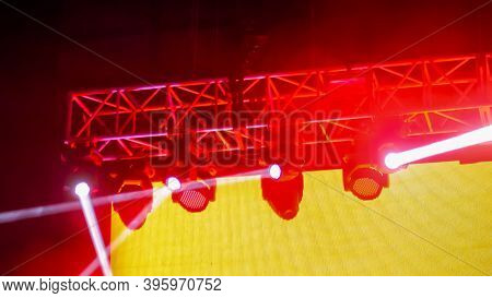 Colorful Bright Red Concert Lighting Equipment For Stage At Nightclub, Illumination Of Entertainment