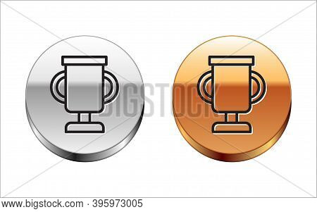 Black Line Award Cup With Bicycle Icon Isolated On White Background. Winner Trophy Symbol. Champions