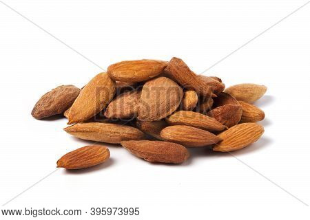 Almond Kernels Isolated On White. Heap Of Almond Nut Kernels