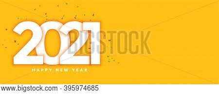 Creative New Year 2021 With Confetti On Yellow Background