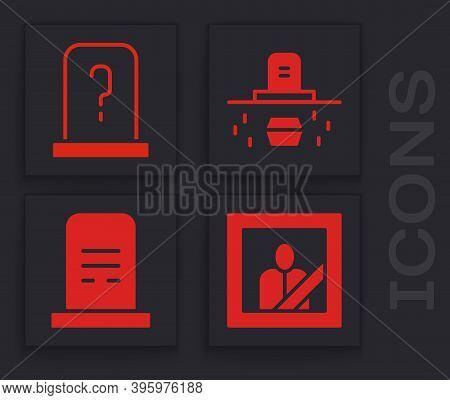 Set Mourning Photo Frame, Grave With Tombstone, Grave With Coffin And Grave With Tombstone Icon. Vec