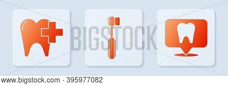 Set Toothbrush, Dental Clinic For Dental Care Tooth And Dental Clinic Location. White Square Button.
