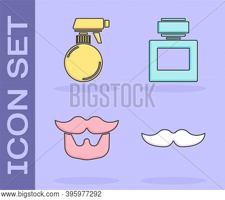 Set Mustache, Hairdresser Pistol Spray Bottle, Mustache And Beard And Aftershave Icon. Vector