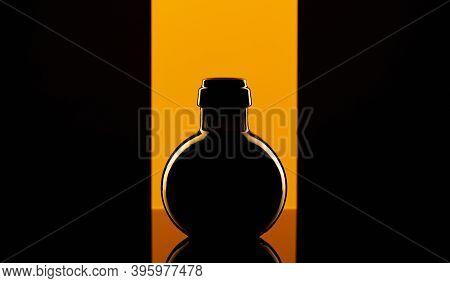 Empty Luxury Black Glass On The Yellow Background