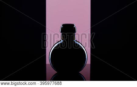 Empty Luxury Black Glass On The Purple Background