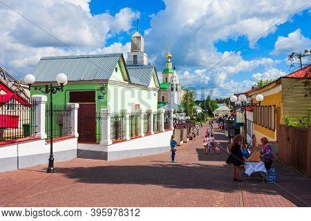 Vladimir, Russia - August 09, 2020: Spasskaya Pedestrian Street In The Centre Of Vladimir City, Gold