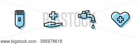 Set Line Water Tap, Electrical Hair Clipper Or Shaver, Cross Hospital Medical And Heart With Cross I