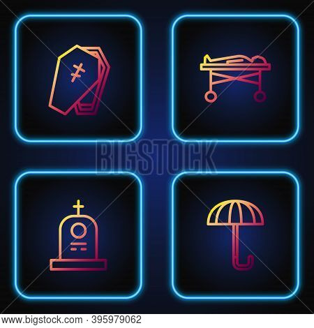 Set Line Umbrella, Grave With Tombstone, Coffin Cross And Dead Body The Morgue. Gradient Color Icons