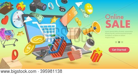 3d Isometric Flat Vector Conceptual Illustration Of Finding Online Shopping Bargains