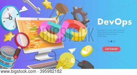 3d Vector Conceptual Illustration Of Devops, Development And Operations.
