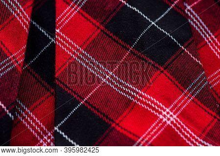 Tartan Plaid Fabric Pattern Background Textured. Red Tartan School Uniform Fabric
