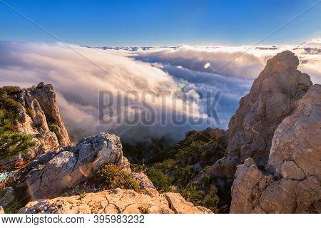 Ocean Of A Cloud And Sky Of Dawn. Crimea Mountain Ay-petri. Mountain Cloudy Landscape. Crimean Lands