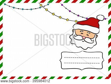 New Year's Postcard With Santa Claus. New Year Greeting Card Template For Sending. Christmas Decor.