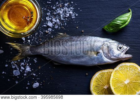 Fresh Fish  For Cooking On Dark Background, Top View!