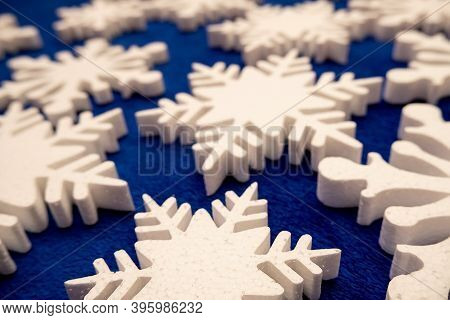 A Lot Of White Foam Snowflakes, New Year's Decor For Home, Office, Shop